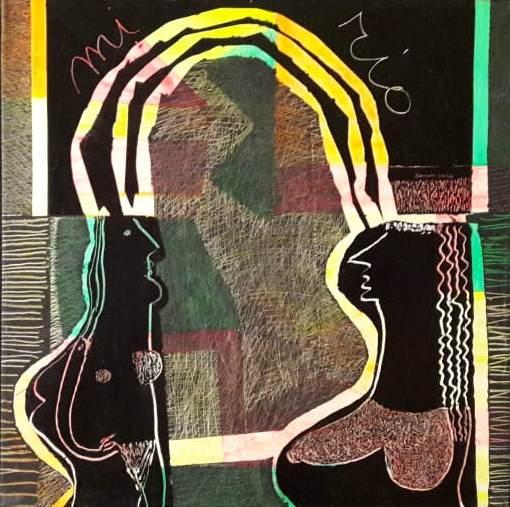 Pintura fosforescente y acrílico sobre tela. 90 x 90 cm